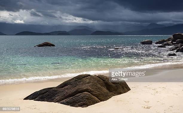 a tropical paradise beach on ilha das couves off the coast in ubatuba, brazil. - alex saberi foto e immagini stock