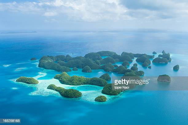 Tropical rock islands from above, Palau 70 Islands