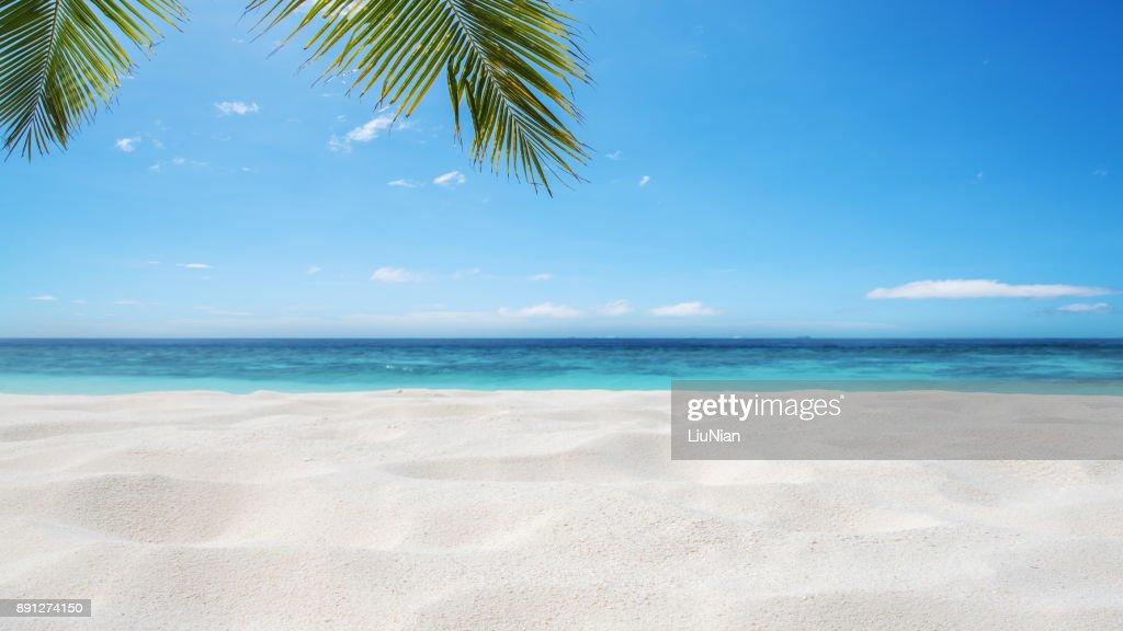 Achtergrond van het tropische zandstrand : Stockfoto