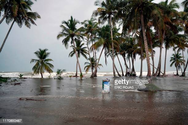 Tropical Storm Karen approaches in Naguabo, Puerto Rico, on September 24, 2019. - As Puerto Rico still recovers from Hurricane Maria, Tropical Storm...