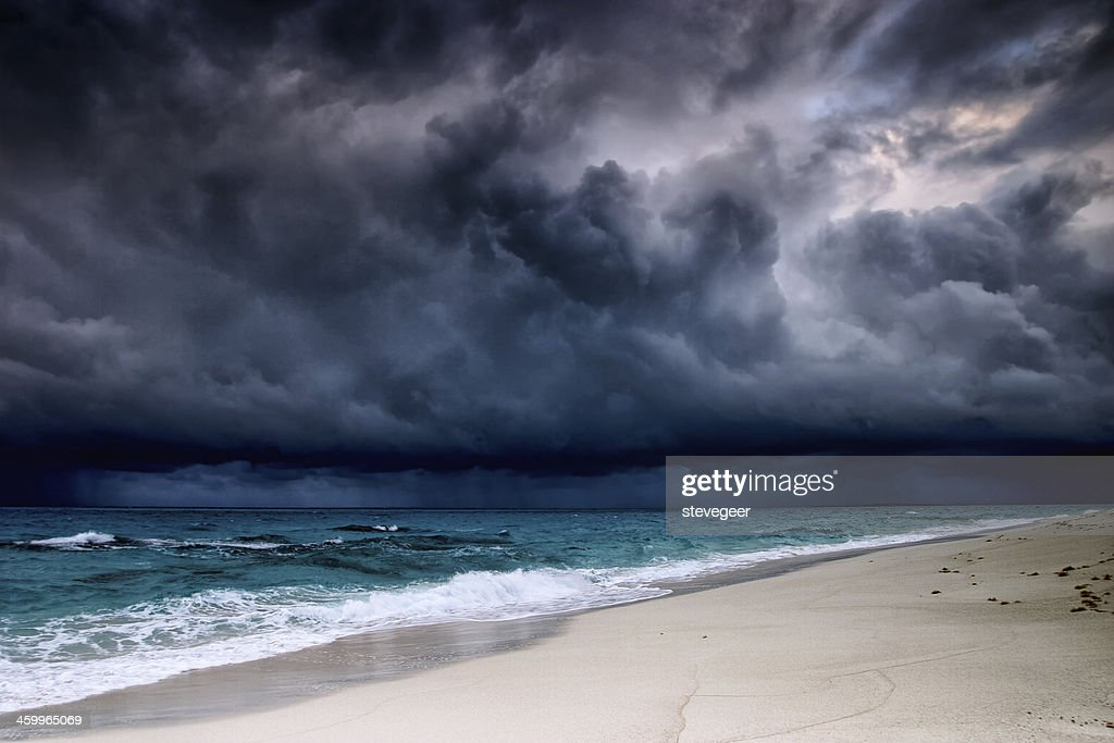 Tropical storm over the Caribbean sea : Stock Photo