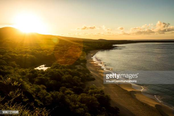 tropical sunrise on big beach in maui. - generic location stock pictures, royalty-free photos & images