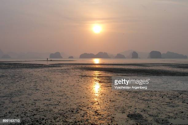 Tropical sunrise, Phang Nga bay, Koh Yao Noi island, Thailand