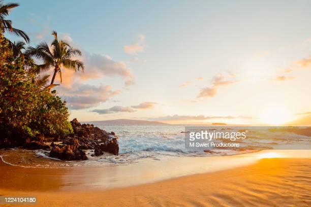 tropical sunset beach hawaii - vista marina fotografías e imágenes de stock