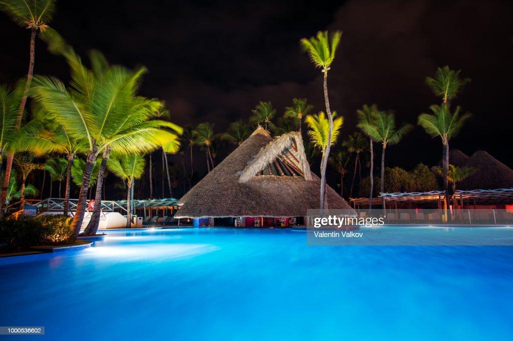 tropical swimming pool in luxury resort punta cana stock photo