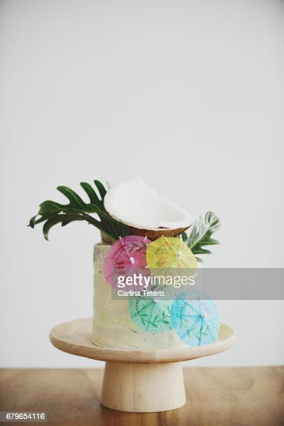 Tropical themed cake on white background