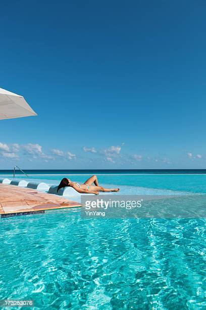 Tropical Vacation Resort Hotel Relaxing in Infinity Pool