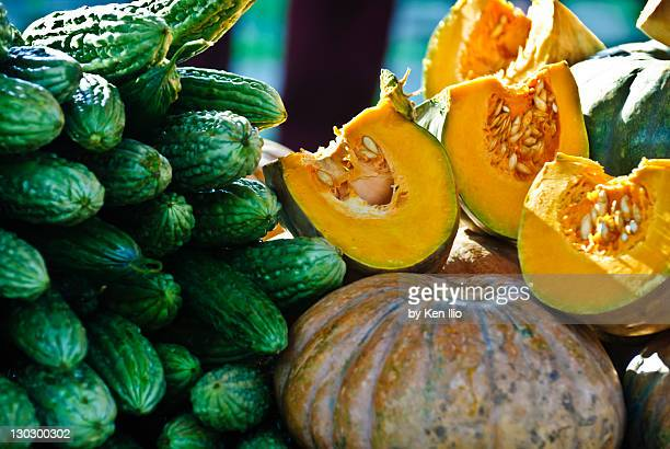 tropical vegetables at market - ken ilio stock pictures, royalty-free photos & images