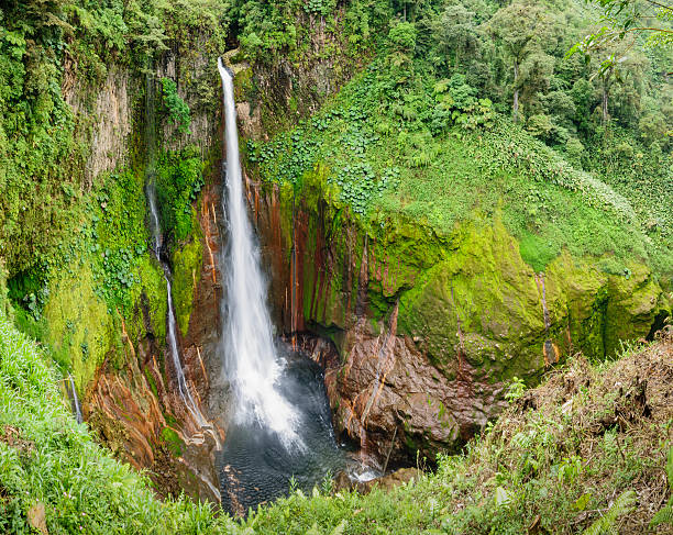 Tropical Waterfall In Volcanic Crater Wall Art
