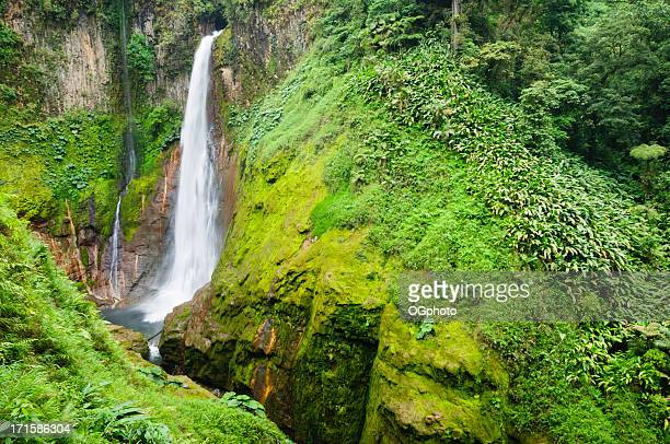 tropical waterfall in volcanic crater - ogphoto stock photos and pictures