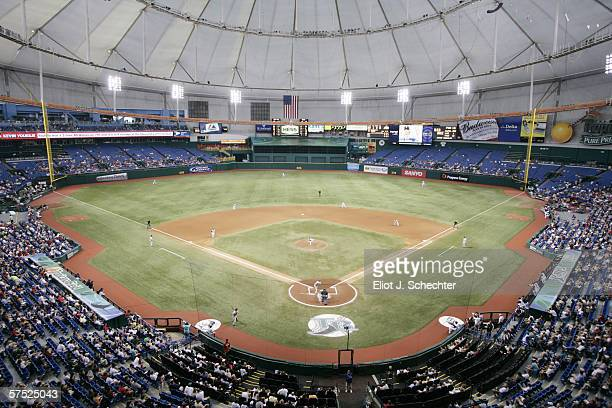 Tropicana Field is shown during the Tampa Bay Devil Rays game against the Boston Red Sox on April 28 2006 at Tropicana Field in St Petersburg Florida...