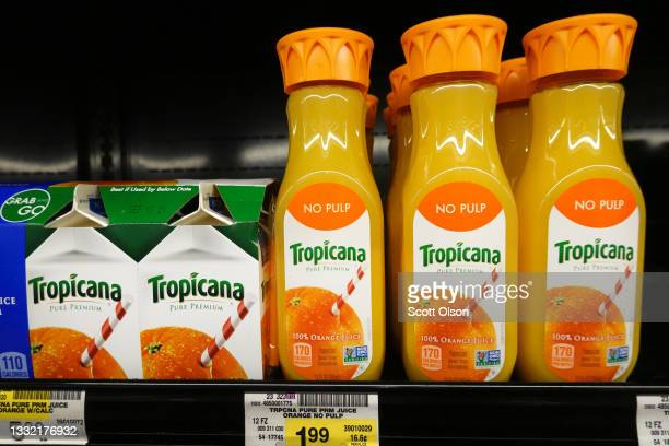 Tropicana orange juice is offered for sale at a grocery store on August 03, 2021 in Chicago, Illinois. PepsiCo Inc., plans to sell the Tropicana...