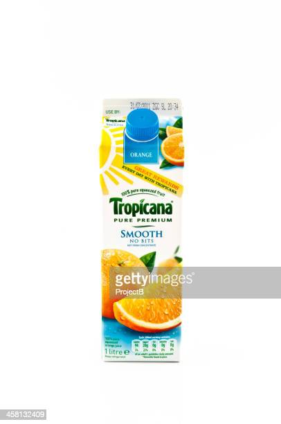 tropicana orange juice no bits - carton stock photos and pictures