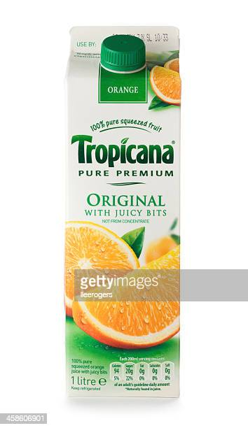 tropicana original orange juice drink carton - carton stock photos and pictures