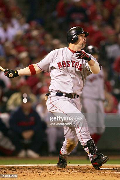 Trot Nixon of the Boston Red Sox hits a 2 RBI double against the St Louis Cardinals during the third inning of game four of the World Series on...