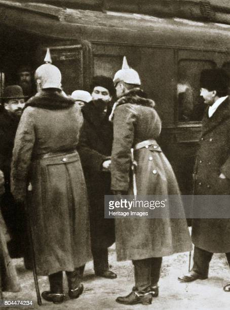 Trotsky and Russian delegates welcomed by German officers BrestLitovsk Russia 1917 Leon Trotsky Russian Communist leader and People's Commissar for...