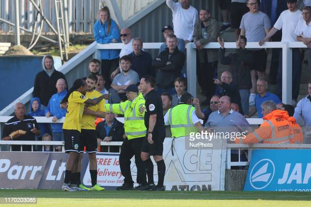Trouble breaks out between the Dover Athletic players and Hartlepool United fans after an alleged racist incident during the Vanarama National League...