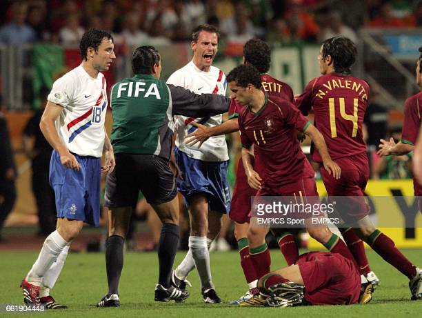 Trouble ensues after a foul by Holland's Khalid Boulahrouz on Portugal's Luis Figo