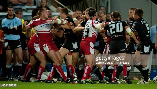 Trouble flares up between Hull FC and Hull KR players during the engage Super League match at the KC Stadium KingstonuponHull