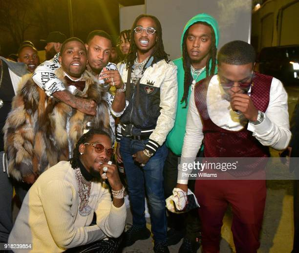 Trouble Offset YFN Lucci Quavo Takeoff and DJ Durel attend Trap Du Soleil Celebrating YFN Lucci on February 13 2018 in Atlanta Georgia