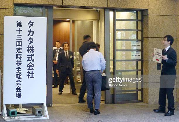 Troubled air bag supplier Takata Corp holds a shareholders' meeting in Tokyo on June 28 2016 Takata's management apologized to shareholders and...