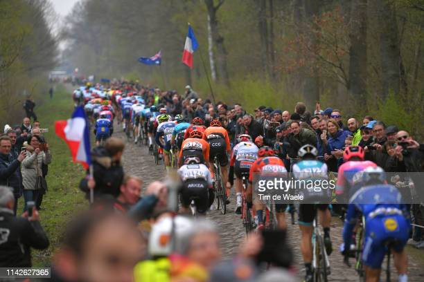 Trouée d'Arenberg / Cobblestones / Fans / Public / Peloton / during the 117th Paris-Roubaix a 257km race from Compiègne to Roubaix / @Paris_Roubaix /...