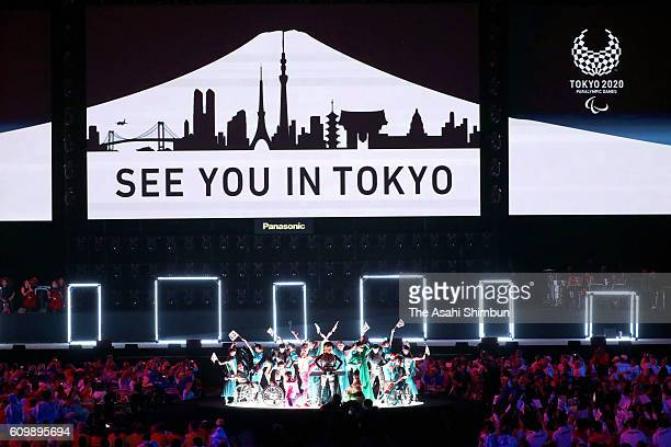 A troupe of Tokyo 2020 dancers with impairment during the closing ceremony of the Rio 2016 Paralympic Games at Maracana Stadium on September 18 2016...