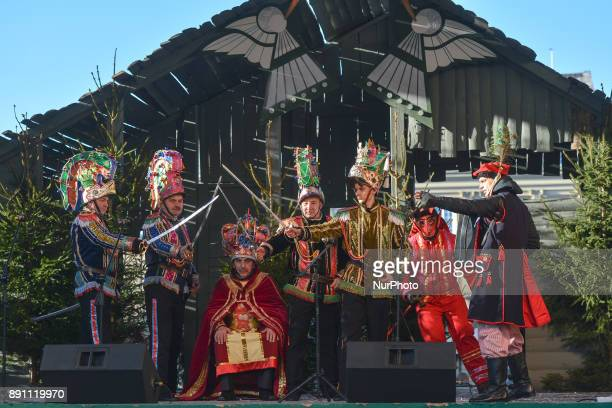 A troupe of traditional Polish Christmas Carolers from 'Malopolska' Region perfom in Krakow's Main Square On Sunday December 10 in Krakow Poland