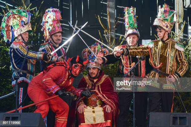 A troupe of traditional Polish Christmas Carolers On Sunday December 10 in Krakow Poland