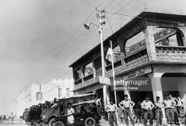Troupes françaises en Somalie pour la répression du mouvement antifrançais pendant le référendum dans les rues de Djibouti le 14 avril 1967