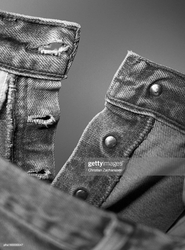 Trousers, close-up, b&w : Stockfoto