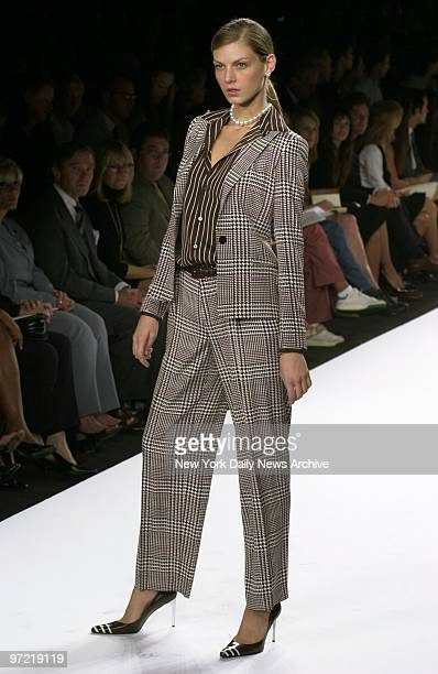 A trousersuit from designer Ralph Lauren is on view at showing of his spring 2001 collection on West Broadway