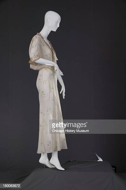 Trousseau nightgown and bed jacket 1940 SIlk chiffon lace by Henri Bendel