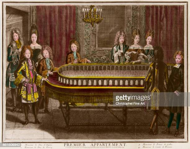 Trouvain Antoine Charles de Berry Philippe d'Anjou and the Prince of Wales Enjoying a Game of Portique in the First Apartment of Louis XIV at the...