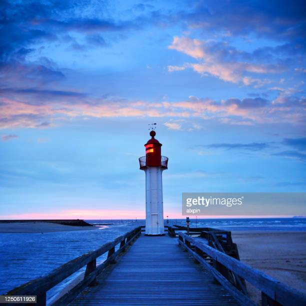 trouville-sur-mer lighthouse, france - calvados stock pictures, royalty-free photos & images