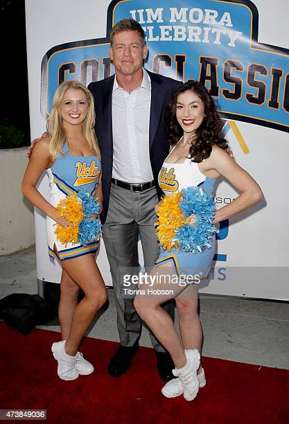 Troy Aikman and the UCLA cheerleaders attend the 9th annual Jim Mora celebrity golf classic VIP cocktail reception at W Los Angeles West Beverly...