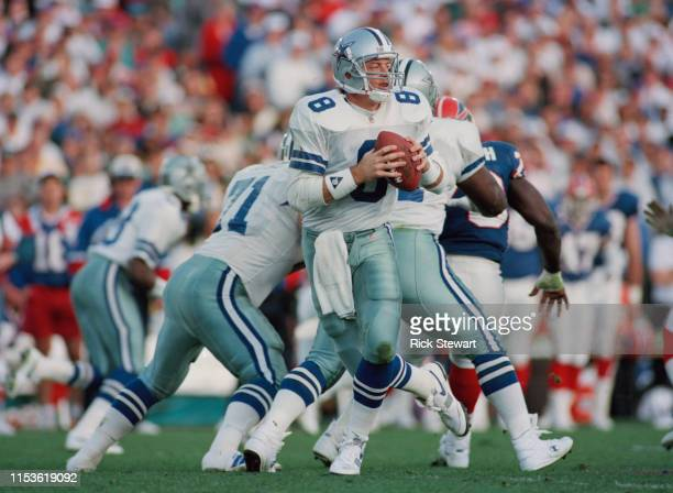 Troy Aikman Quarterback for the Dallas Cowboys during the National Football League Super Bowl XXVII game against the Buffalo Bills on 31st January...
