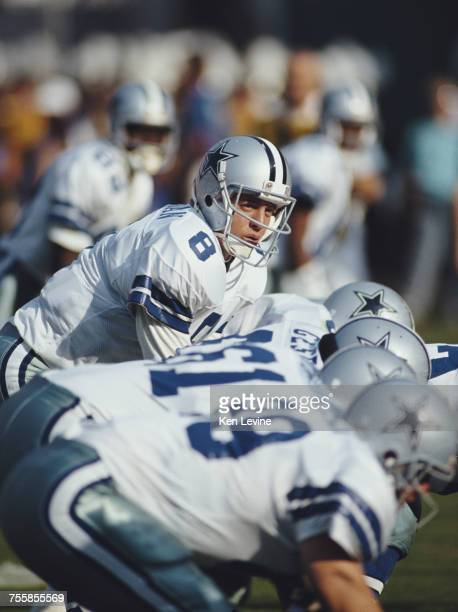 Troy Aikman Quarterback for the Dallas Cowboys prepares for the snap during the National Football Conference West game against the Los Angeles Rams...