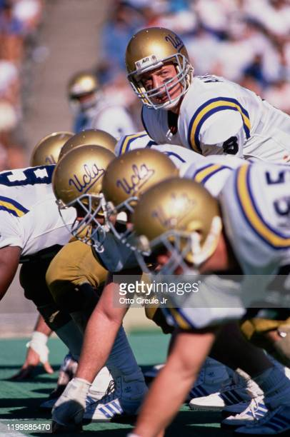 Troy Aikman Quarterback for the University of California Los Angeles UCLA Bruins calls the play during the NCAA Pac10 college football game against...