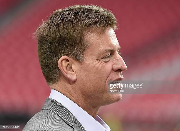 Troy Aikman stands on the sidelines prior to a game between the Green Bay Packers and Arizona Cardinals at University of Phoenix Stadium on December...