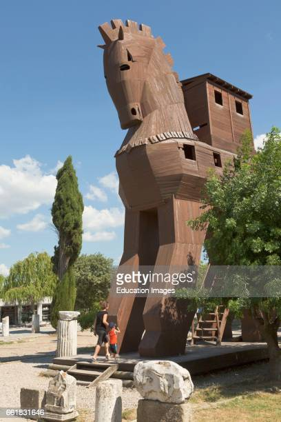 Troy âanakkale Province Turkey Imaginary reconstruction of the Trojan Horse Troy is a UNESCO World Heritage Site