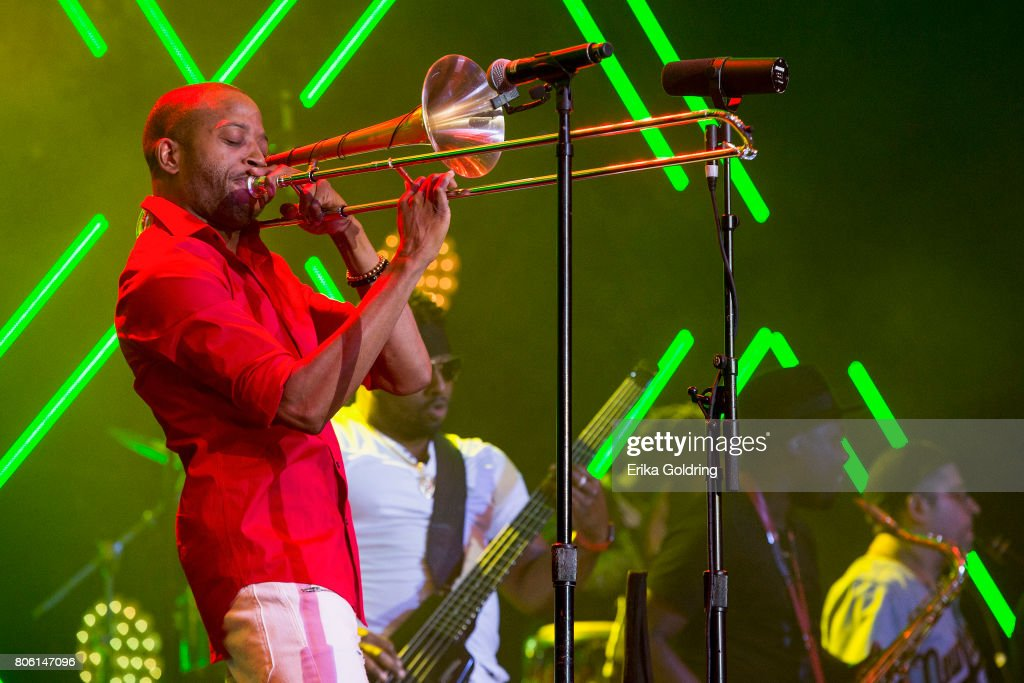 Troy Andrews aka Trombone Shorty, Mike Bailey, BK Jackson and Dan Oestreicher of Trombone Shorty & Orleans Avenue perform onstage at the 2017 ESSENCE Festival Presented By Coca Cola at the Mercedes-Benz Superdome on July 2, 2017 in New Orleans, Louisiana.