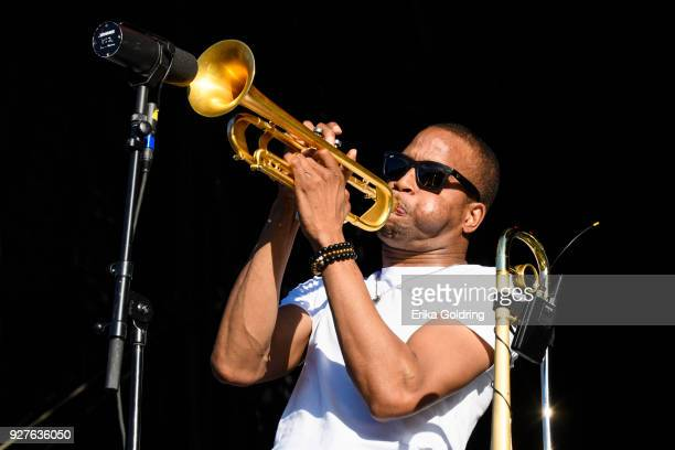 Troy Andrews of Trombone Shorty and Orleans Avenue performs during Okeechobee Festival at Sunshine Grove on March 4 2018 in Okeechobee Florida