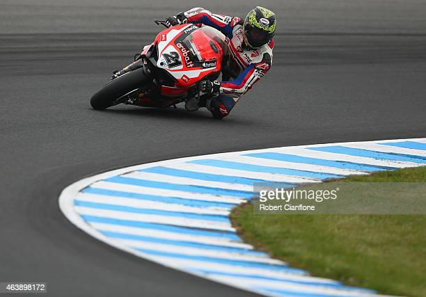 Troy Bayliss of Australia rides the Aruba.it Racing-Ductati Superbike Team Ducati Panigale R during the practice session for the World Superbikes...