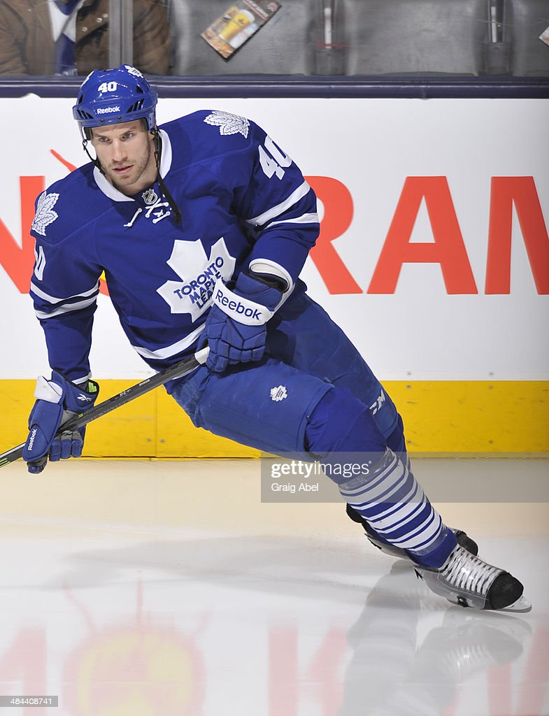 Troy Bodie #40 of the Toronto Maple Leafs skates during warm up prior to NHL game action against the Calgary Flames April 1, 2014 at the Air Canada Centre in Toronto, Ontario, Canada.