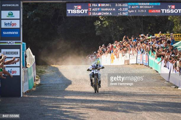 Troy Brosnan of Australia crosses the line in 5th after competing in the Elite Mens Downhill Championship during the 2017 Mountain Bike World...