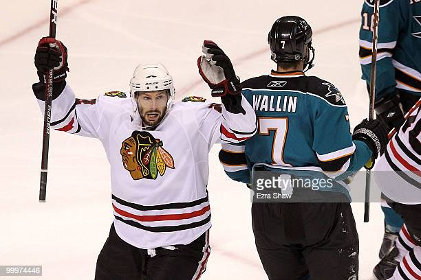 Troy Brouwer of the Chicago Blackhawks celebrates his third period goal while taking on the San Jose Sharks in Game Two of the Western Conference...