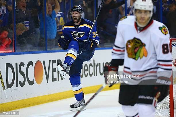 Troy Brouwer of the St Louis Blues celebrates after scoring the gamewinning goal against the Chicago Blackhawks in Game Seven of the Western...