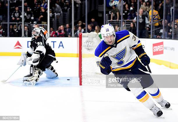 Troy Brouwer of the St Louis Blues celebrates his overtime shootout goal past Jonathan Quick of the Los Angeles Kings for a 21 win at Staples Center...