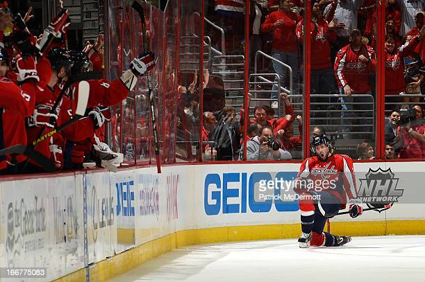 Troy Brouwer of the Washington Capitals celebrates after scoring a goal during the second period of an NHL game against the Toronto Maple Leafs at...